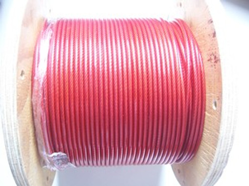 """RED Vinyl Coated Stainless Steel Wire Rope, 1/8"""" - 3/16"""", 7x19, per ft"""