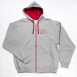 Gray + Red Zip Sweatshirt - 2XL