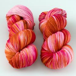 Magpie Fibers, Swanky Sock // Cherry Bomb at  The Loopy Ewe
