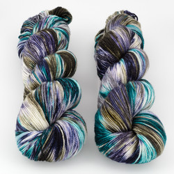 Into the Whirled, Resist Dyed - Meridian Sock // Andraste at  The Loopy Ewe