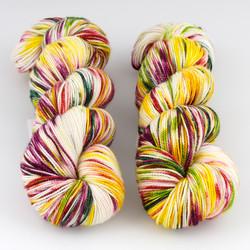 Into the Whirled, Resist Dyed - Meridian Sock // Irohamomiji B at  The Loopy Ewe