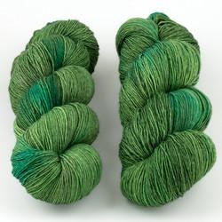 JulieSpins, Euro Fingering 820 // Green Veg at  The Loopy Ewe