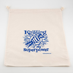 Knitting is My Superpower Bag at  The Loopy Ewe