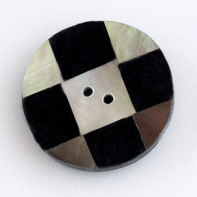 "Abalone/Black Checkboard - 7/8"" Button (K110)"