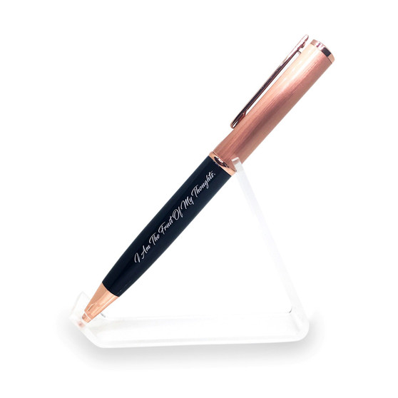 BLACK ROSE GOLD PEN WITH MOTIVATIONAL MESSAGE - I AM THE FRUIT OF MY THOUGHTS