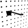"4"" Black Plastic Hook in a Pegboard Panel"