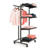 T-Stand Rolling Merchandise Rack with 4 Black Bullnose Shelves
