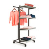 T-Stand Rolling Merchandise Rack with 4 Grey Bullnose Shelves