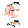 T-Stand Rolling Merchandise Rack with 4 White Bullnose Shelves