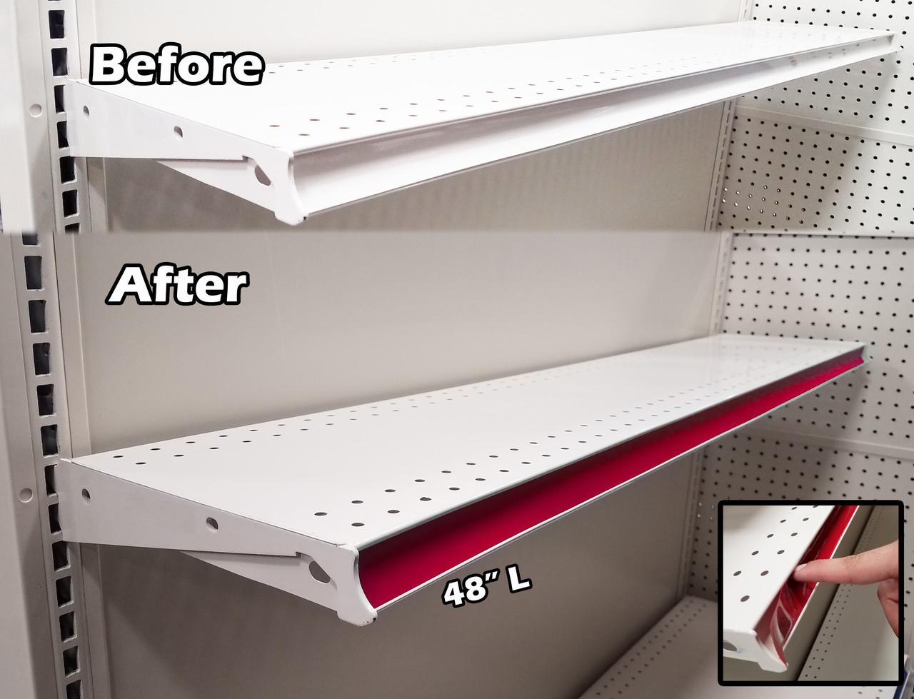 gondola shelving pre cut vinyl insert strips 48 l 100 pack rh storefixturesdirect com pre cut closet shelves pre cut mdf shelves