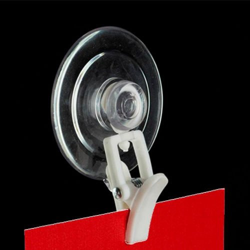 Suction Cup with White Clever Clip Sign Holder