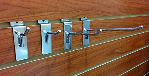 Multiple Size Chrome Slatwall Hooks - Bundle Pack