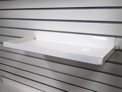 "Steel Slatwall Shelves with .5"" Lip - 7.5"" D  - Ivory"