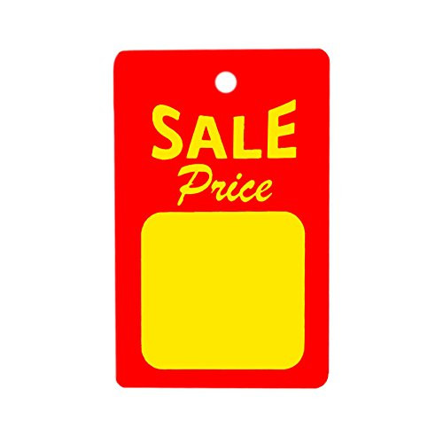 "1000 Small Sale Price Tags - Red & Yellow - 1.25"" W x 1.875"" H"