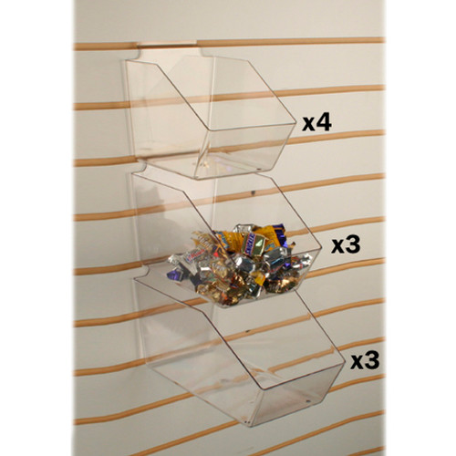 Slatwall Clear Acrylic Bin Multisize Bundle Pack