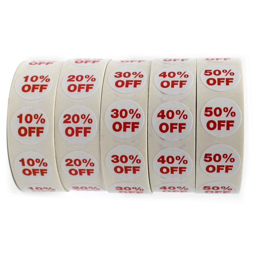 """1000 3/4"""" Round Self-Adhesive  Percentage % OFF Labels"""