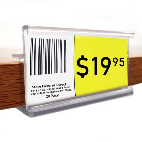 "2.5"" L Clear 3/4"" Thick Wood Shelf Label Holder"