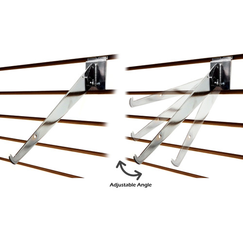 Slatwall Adjustable Angle Shelf Brackets - Chrome