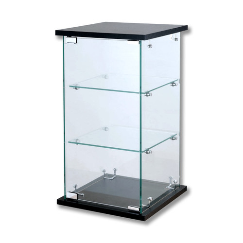 Frameless Black Counter Top Glass Tower Showcase