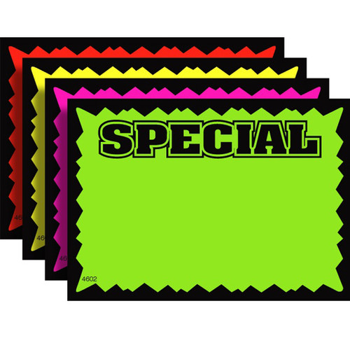 SPECIAL Fluorescent Sale Sign Cards - 100 Pack