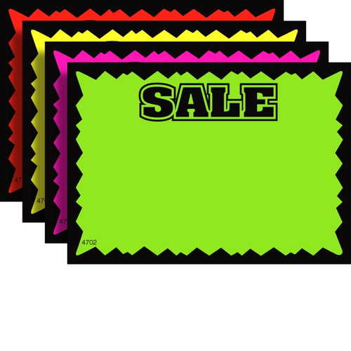 SALE Fluorescent Sale Sign Cards - 100 Pack