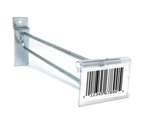 "8"" Zinc Slatwall Flip Up Scanner Hooks with Label Holders"