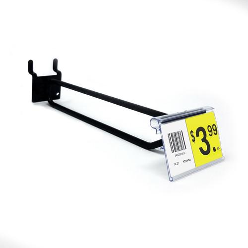 """6"""" Black Pegboard Flip Up Scanner Hooks with Label Holders"""