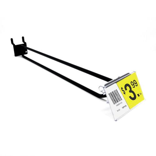 """10"""" Black Pegboard Flip Up Scanner Hooks with Label Holders"""