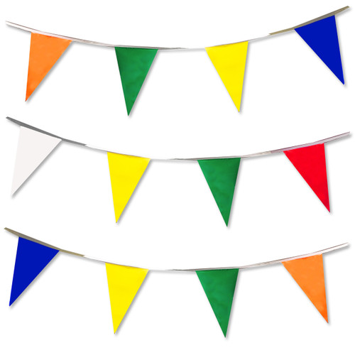 Our rainbow colored flag pennants come with Red, White, Blue, Orange, Yellow & Green flags.