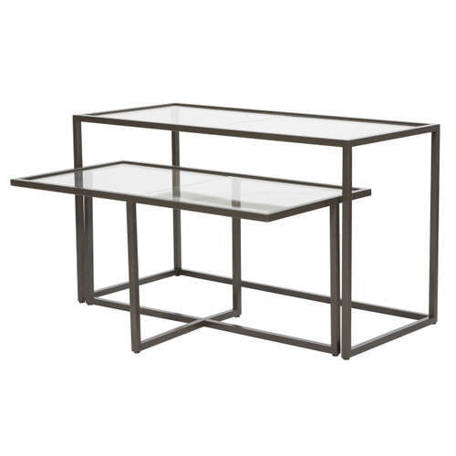 Lea Collection Bronze Frame Glass Top Nesting Tables