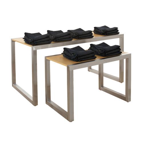 Large & Small Satin Chrome Nesting Table Set