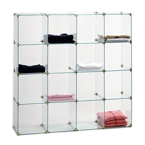 Free Standing Glass Cube Display with square panels