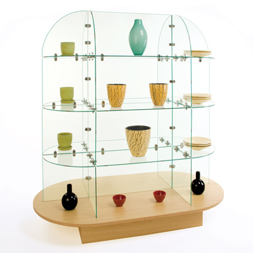 Oval Glass Display with Melamine Base