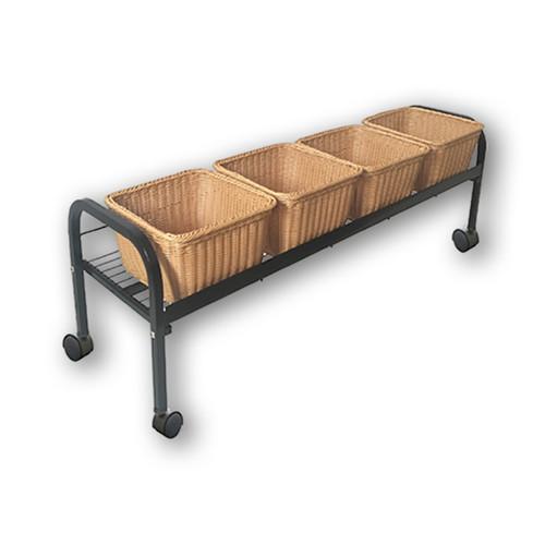 Rolling 4 Wicker Basket Floor Display