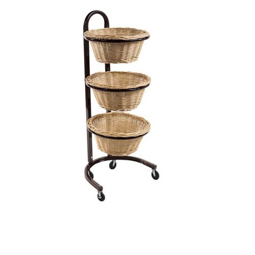 3 Tier Round Wicker Basket Display
