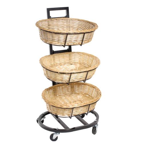 3 Tier Oval Wicker Basket Display