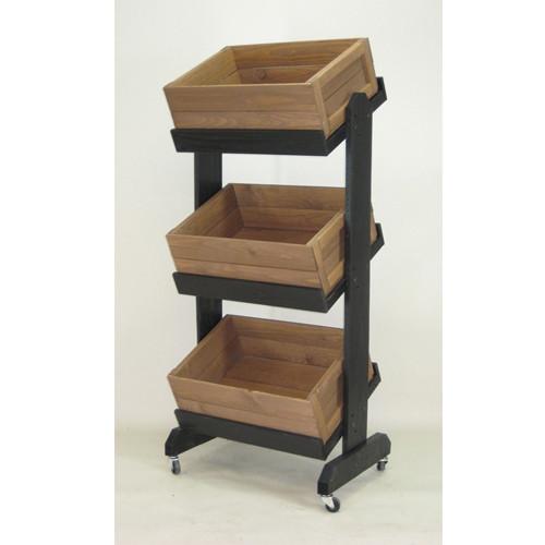 Wood 3 Tier Bin Display