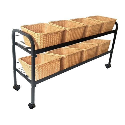 Rolling 8 Wicker Basket Floor Display