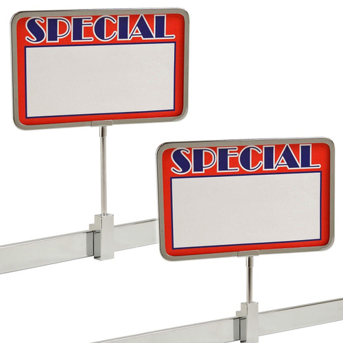 """Chrome Frame Rectangular Rack Magnetic Sign Holder, 7"""" x 11"""""""