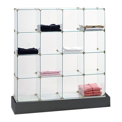 """4 x 4 Glass Cube Display with Black Base using 12"""" x 12"""" or 14"""" x 14"""" tempered glass panels."""