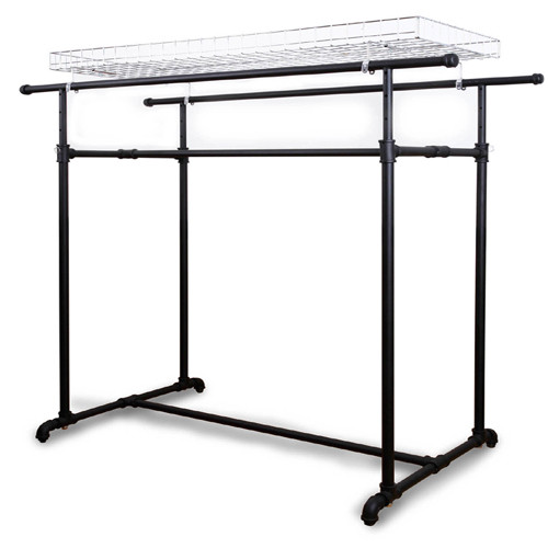 Black Pipe Double Bar Clothing Rack