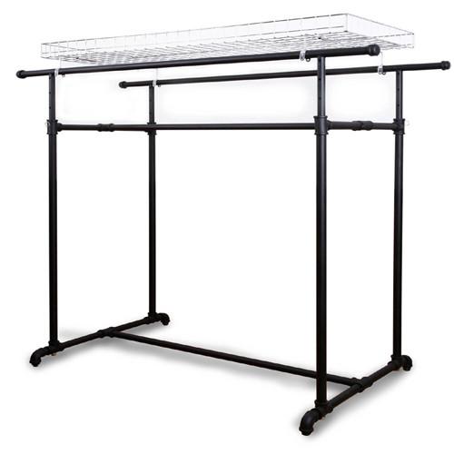 Terrific Black Pipe Double Bar Clothing Rack Machost Co Dining Chair Design Ideas Machostcouk