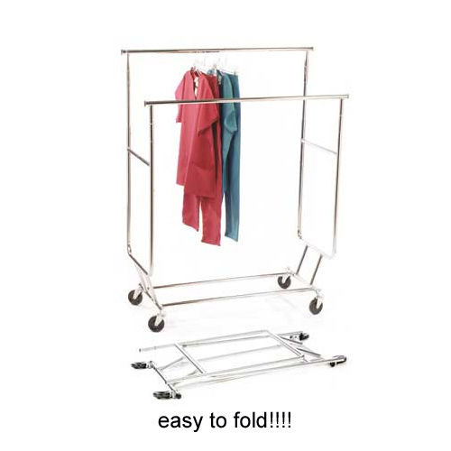 Double Bar Collapsible Rolling Clothing Rack