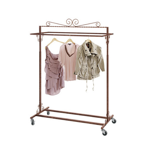 Antique Copper Double Bar Rolling Rack