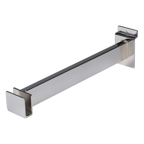 "Slatwall Rectangular Tube Holding Hang Rail Bracket, 3"" or 12"""