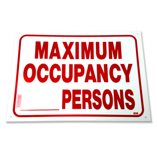 Maximum Occupancy Persons Business Sign