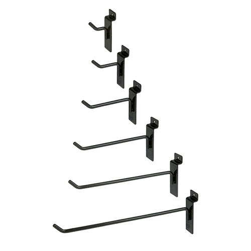 "Slatwall, Slatgrid, Slat Wall Panel Hooks in various sizes. 1"", 2"", 4"", 6"", 8"", 10"" & 12"" are available."