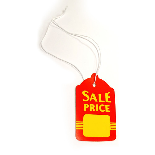 """Large Red & Yellow Strung Tags: 1.6"""" W x 2.7"""" H"""