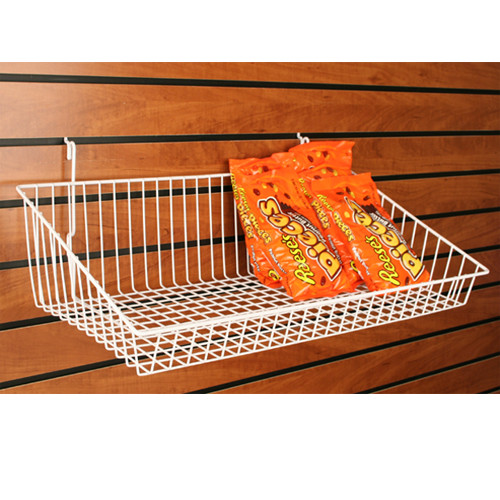 "24"" W Sloped Front Retail Wire Baskets, 6 Pack"