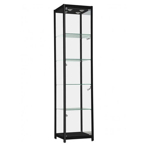 Black Aluminum Glass Tower Display Case